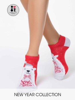Conte Elegant Happy New Year Kollektion rote Damen Socken mit kuscheligem Eisbär