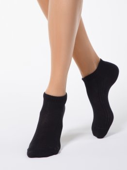 Sneakersocken für Damen CONTE, kurze Baumwollsocken Schwarz