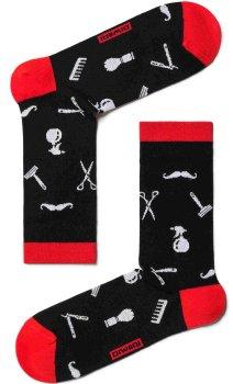 Ausgefallene Socken mit Barber Werkzeuge Motiv, Schwarz-Weiß-Rot, Diwari Happy