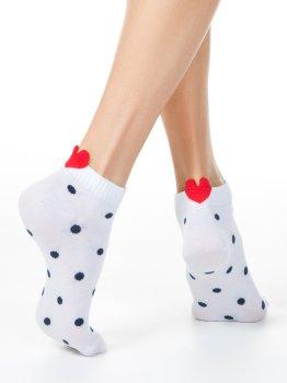 Sneakersocken für Damen, mit Herzchen, gepunktet, Conte