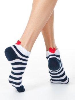 Sneakersocken für Damen, mit Herzchen, gestreift, Conte