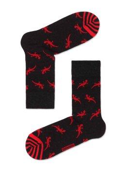 Lustige Socken Herren mit Eidechse Motiv, Schwarz Rot, Diwari Happy